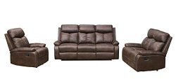 Betsy Furniture 3-PC Microfiber Fabric Recliner Sofa Set Living Room Set in Brown, Sofa, Lovesea ...