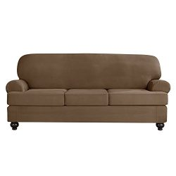 Sure Fit Designer Suede Convertible T-Cushion Sofa 3-Cushion Furniture Cover – Taupe (SF44384)