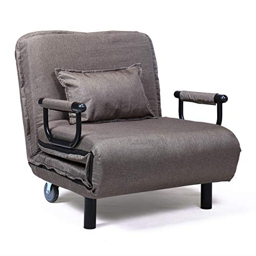 JAXPETY Brown Folding Sleeper Flip Chair Convertible Sofa Bed Lounge Couch Pillow US