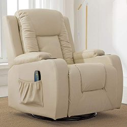 ComHoma Leather Recliner Chair Modern Rocker with Heated Massage Ergonomic Lounge 360 Degree Swi ...