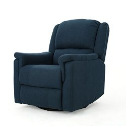 Christopher Knight Home 302056 Jemma Swivel Gliding Recliner Chair Navy Blue
