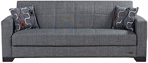 BEYAN SB 2019 Gray Vermont Modern Chenille Fabric Upholstered Convertible Sofa Bed with Storage, ...