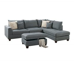 Poundex F6542 PDEX-F6542 Living Room Chaise Lounges Slate