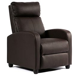 FDW Recliner Chair Single Reclining Sofa Leather Chair Home Theater Seating Living Room Lounge C ...