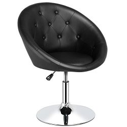 Yaheetech 360° Swivel Adjustable Contemporary Round Tufted Back Tilt Accent Chair for Salon,Nail ...