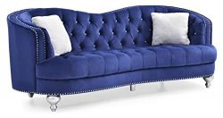 Glory Furniture Jewel G750-S Sofa, Blue. Living Room Furniture 35″ H x 90″ W x 37&#8 ...