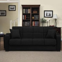 Tyler Microfiber Storage Arm Convert-a-couch Sofa Sleepr Bed, Black, Designed with a Storage Are ...