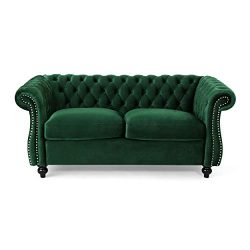 Karen Traditional Chesterfield Loveseat Sofa, Emerald and Dark Brown