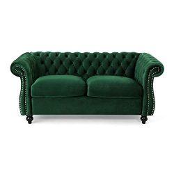 Karen Traditional Chesterfield Loveseat Sofa, Emerald and Dark Brown