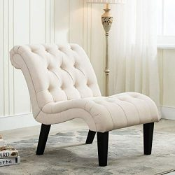 YongQiang Living Room Chairs Upholstered Tufted Accent Chair Curved Backrest Lounge Chair with W ...