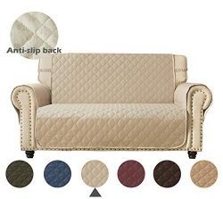 Ameritex Loveseat Cover Keep Your Couch Stain, Dirt & Scratches-Free(Pattern2:Beige, Loveseat)