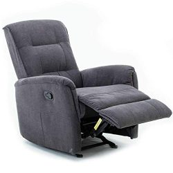 Meor Recliner Chair, Fabric Rocker Recliner Chair Grey Glider Recliner Reclining Single Sofa for ...