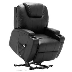 TANGKULA Massage Recliner with Electric Lift Power, Ergonomic Design Heated Vibrating with 2 Cup ...