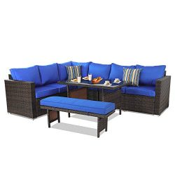 Outime Patio Furniture Sets 5PCS Brown PE Rattan Sofa Set with Royal Blue Cushion Garden Rattan  ...