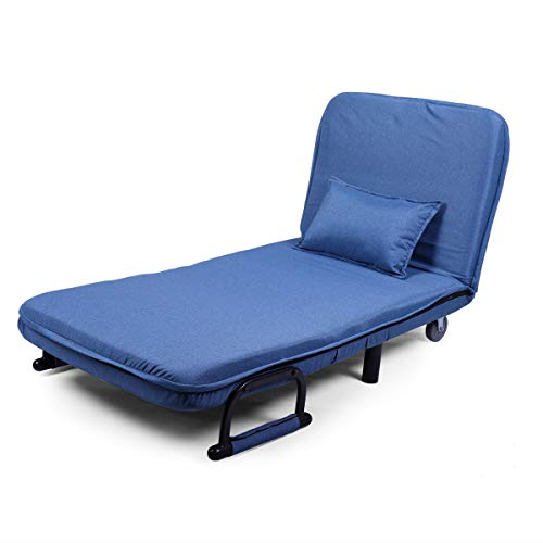 JAXPETY Blue Sofa Bed Folding Arm Chair 29.5″ Width Convertible Sleeper Recliner Lounge