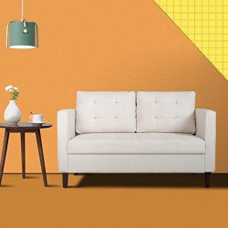 Modern Classic Loveseat Sofa, Upholstered Sofa/Couch,2 Independent Stretch Cotton Backrest, Suit ...