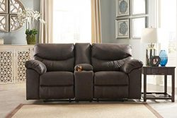 Ashley Furniture Signature Design Teak Boxberg Reclining Loveseat with Console