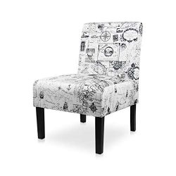 AODAILIHB Armless Accent Chair Modern Fabric Printing Leisure Chair Single Sofa Deco Living Room ...