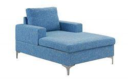 Casa Andrea Milano Modern Chaise Lounge, Mid Century Linen Fabric Chaise (Light Blue)
