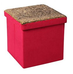 B FSOBEIIALEO Velvet Storage Ottomans Cube Room Organizer, Shoes Bench Seat Coffee Table Foot St ...