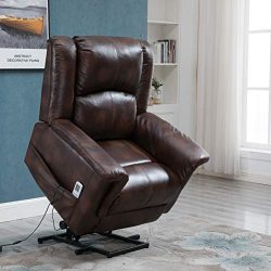Power Lift Chair Recliner Wall Hugger PU Leather Heated Vibration with Multi-Function Control (L ...