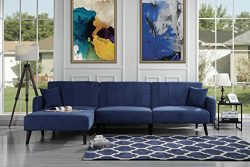 Casa Andrea Upholstered Mid Century Linen Fabric Futon Sectional Sofa, 112″ W inches (Navy)