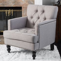 Great Deal Furniture Tufted Club Chair, Decorative Accent Chair with Studded Details – Pewter