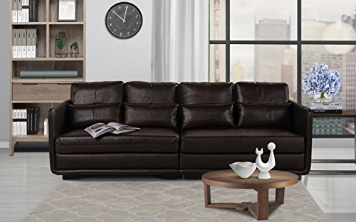 Classic 2 Piece Convertible Living Room Leather Sofa, Adjustable Couch (Brown)