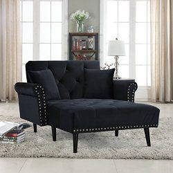 Divano Roma Furniture Modern Velvet Fabric Recliner Sleeper Chaise Lounge – Futon Sleeper  ...