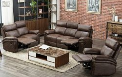Harper & Bright Designs Sectional Recliner Sofa Set (Brown) (Chair & Loveseat & 3_Se ...