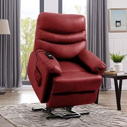 Domesis Wall Hugger Power Recline and Lift Chair (Burgundy Red PU)