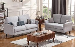 HONBAY 2 Piece Sofa and Loveseat Set for Living Room Furniture Sets, Light Grey