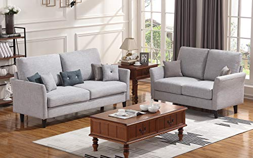 HONBAY 2 Piece Sofa and Loveseat Set for Living Room Furniture Sets, Light Grey