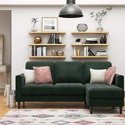 CosmoLiving Strummer Modern Reversible Sectional Couch Upholstered in Green Velvet Fabric with F ...