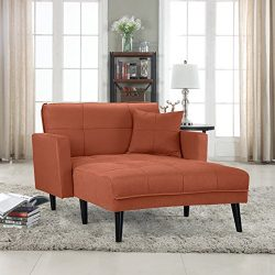 Casa Andrea Upholstered Linen Fabric Recliner Futon Sectional Sofa, 60″ W inches (Rust)