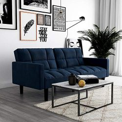 DHP Hayden Convertible Sofa Sleeper Futon with Arms – Blue Microfiber
