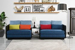Classic 2 Piece Colorful Convertible Living Room Sofa, Adjustable Couch (Black/Dark Blue)