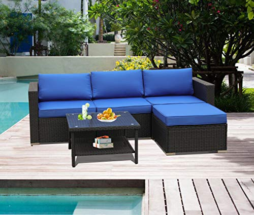 Leaptime Patio Sofa Furniture Garden Rattan Couch 5pcs