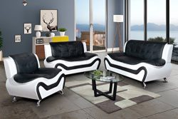 3PC Sofa Set, AYCP Furniture 3 Piece Contemporary Living Room Sofa Set, Sofa/Loveseat/Chair, Fau ...