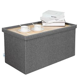 B FSOBEIIALEO Storage Ottoman with Tray, Linen Coffee Table Folding Long Shoes Bench Footstool,  ...