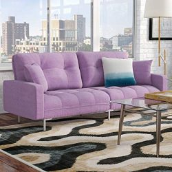 Modern Plush Tufted Convertible Sofa Sleeper – Contemporary Futon Sofa – Upholstered ...