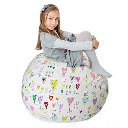 Stuffed Animal Storage Bean Bag XXL – 100% Cotton Canvas Plush Toy Organizing Bag, Machine Washa ...