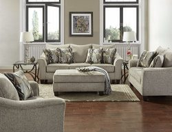 Roundhill Furniture LAF7703-02-01-05CP Camero Platinum Fabric (4 Piece) Living Room Set