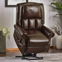 P PURLOVE Power Lift Recliner, Soft PU Leather Lift Chair, Electric Recliner Chairs for Elderly, ...