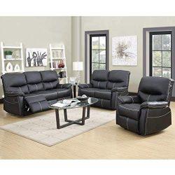 BestMassage Recliner Sofa Leather Set 3 PCS Motion Sofa Loveseat Recliner Leather Sofa Recliner  ...