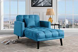 Sofamania Modern Linen Fabric Recliner Sleeper Chaise Lounge – Futon Sleeper Single Seater ...