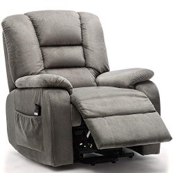 Harper&Bright Designs Power Lift Recliner Chair Woven Velvet Upholstered Recliner for Living ...