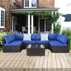 Outime Patio Sofa Brown Rattan Garden Sectional Sofa Set Outside Furniture Wicker Couch Outdoor  ...