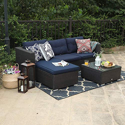 PHI VILLA 3 Piece New Outdoor Furniture Sectional Sofa Patio Set with Upgrade Rattan Wicker, Nav ...