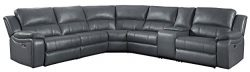 Homelegance Falun 120″ Power Reclining Sectional Sofa with USB Port, Gray Leather Gel Match